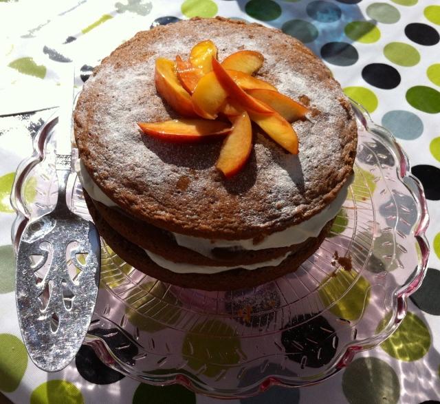 Nectarine, caramel and cream cake