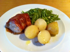 Pancetta wrapped roast pork fillet