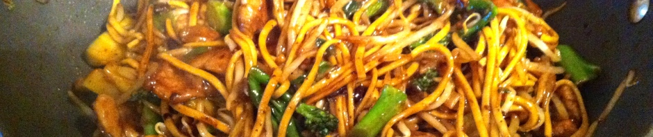 Pork and black bean stir-fry with fresh egg noodles