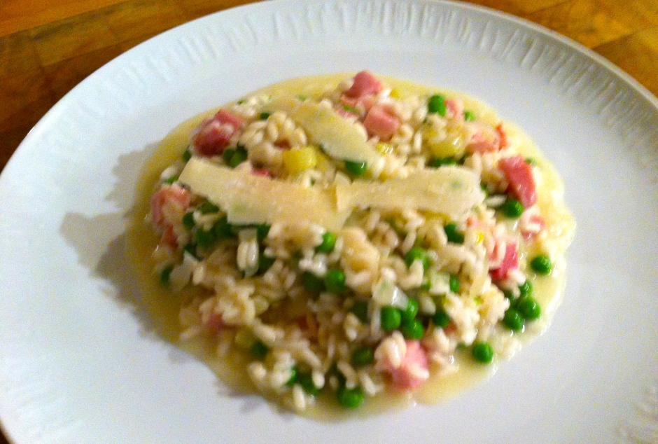 Pea and ham risotto