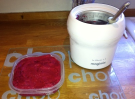 Roast plum sorbet - freezer ready