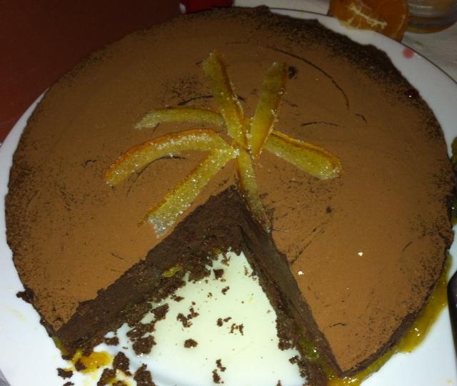 Chocolate mousse cake with mandarin marmalade
