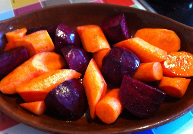 Roasted carrots and beetroot