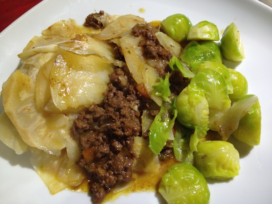 Suffolk venison pie with sprouts