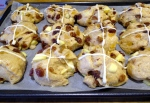 Prepping the hot cross buns