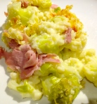Leek, ham and cauliflower gratin