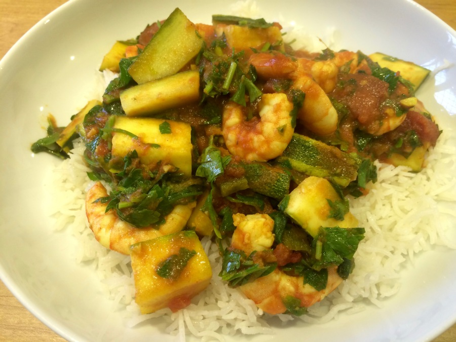Spicy prawns with courgettes