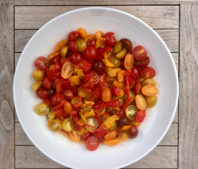 heritage tomato and pepper salad