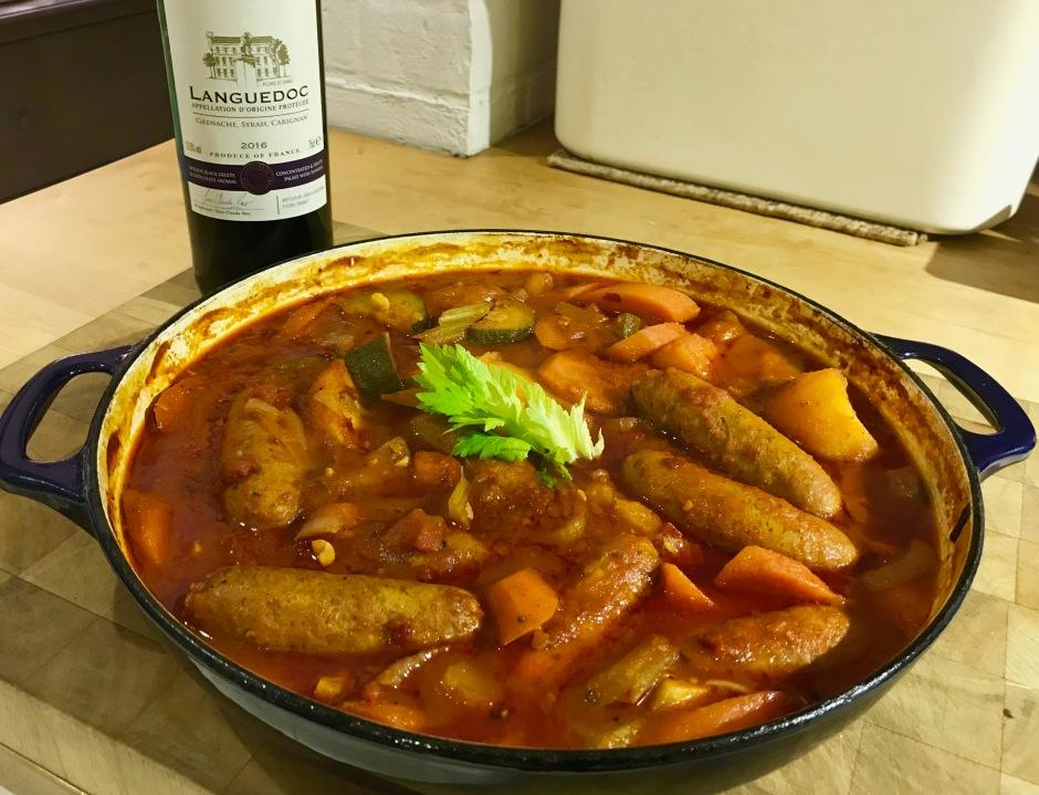 Braised chorizo sausages