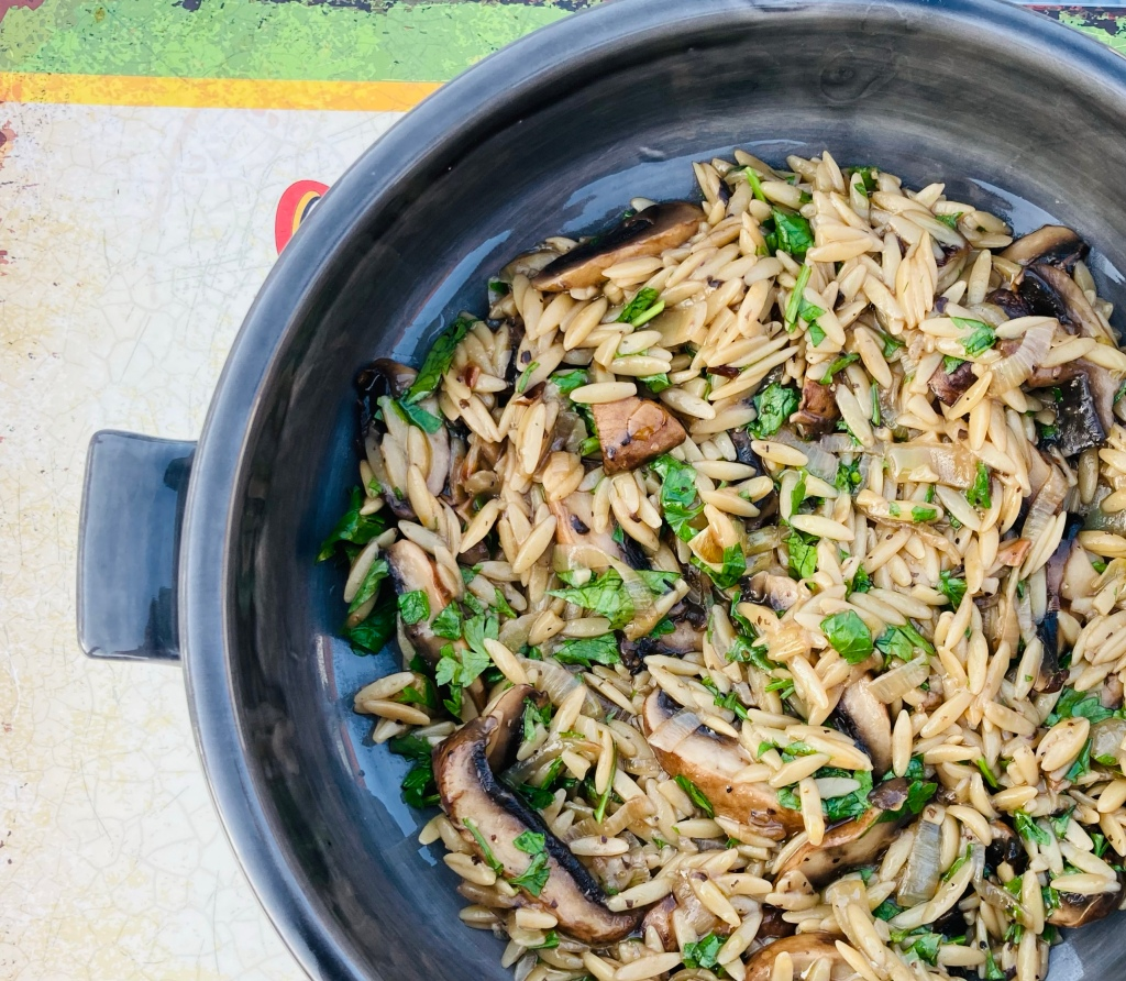 Mushrooms with orzo