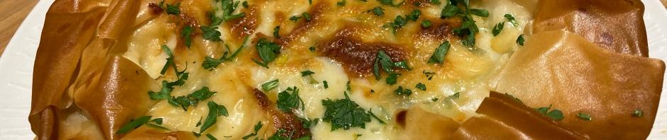Cauliflower cheese filo pie
